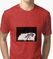 Vine Leaves Morphing Maggots Woodcut Tri-blend T-Shirt