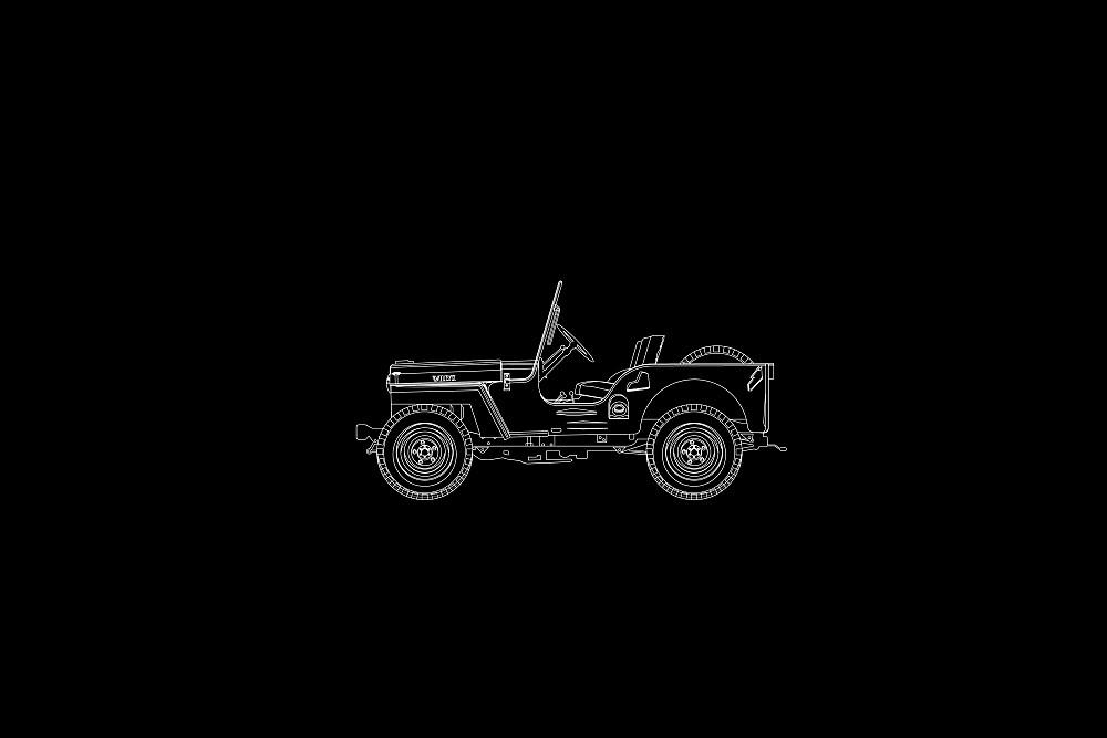 Jeep Willys CJ2A Outline by Jeff Merrick