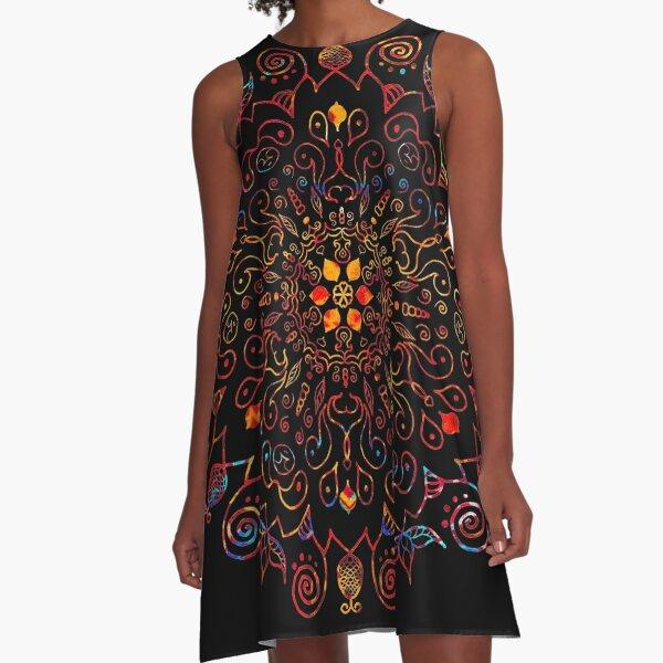 Mandala with Black Background A-Line Dress