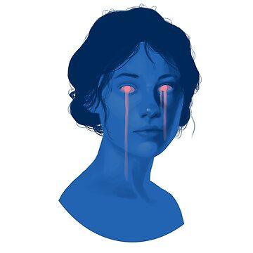 Pink Tears on Blue Skin by LinaFleer
