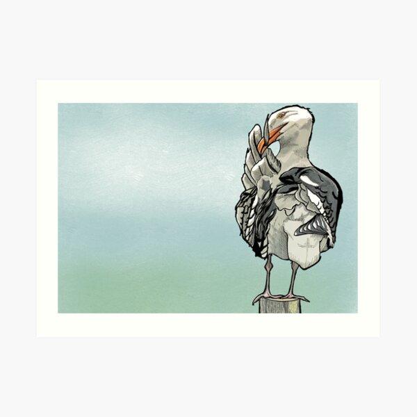 Seagull on the wharf Art Print