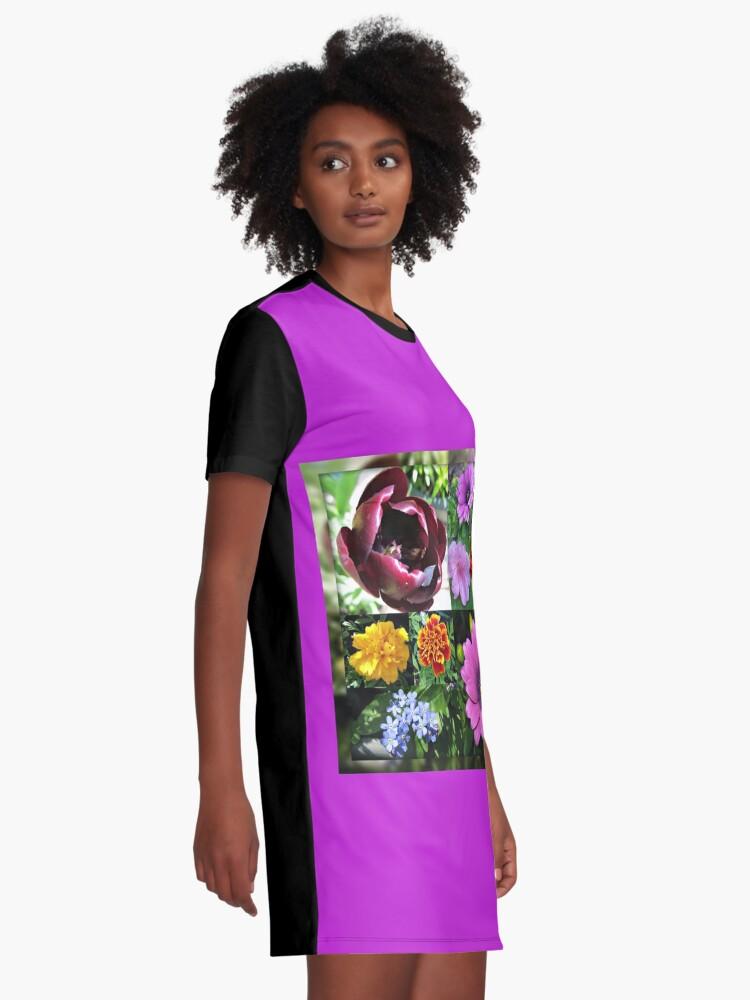 Alternative Ansicht von So lange, Frühling! Hallo, Sommer! Sonnenschein-Blumen-Collagen T-Shirt Kleid