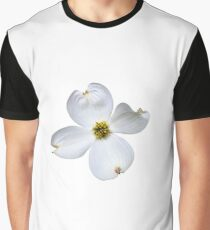 White Dogwood Flower on White Graphic T-Shirt