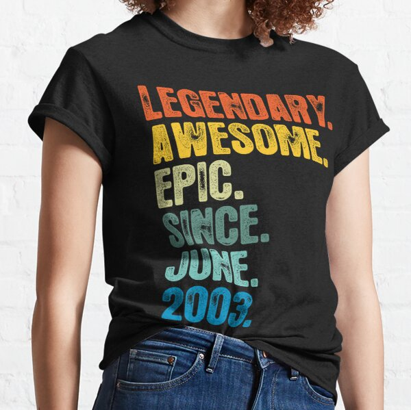 Retro Vintage 18th Birthday Awesome Since June 2003 Classic T-Shirt