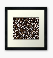 brown and white camo abstract Framed Print
