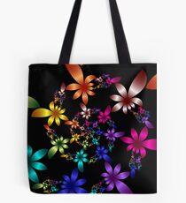 Colorful Fractal Spiral Flowers  Tote Bag