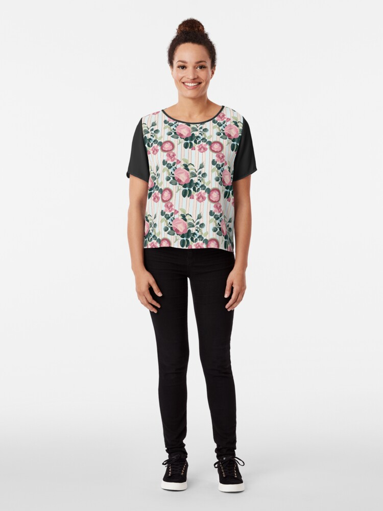 Alternate view of Pink Roses Illustration Blue Green Leaves Peach Stripes Chiffon Top
