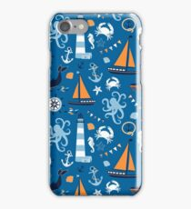 Bright Blue and Orange Nautical Ocean iPhone Case/Skin