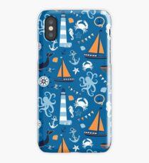 Bright Blue and Orange Nautical Ocean iPhone Case