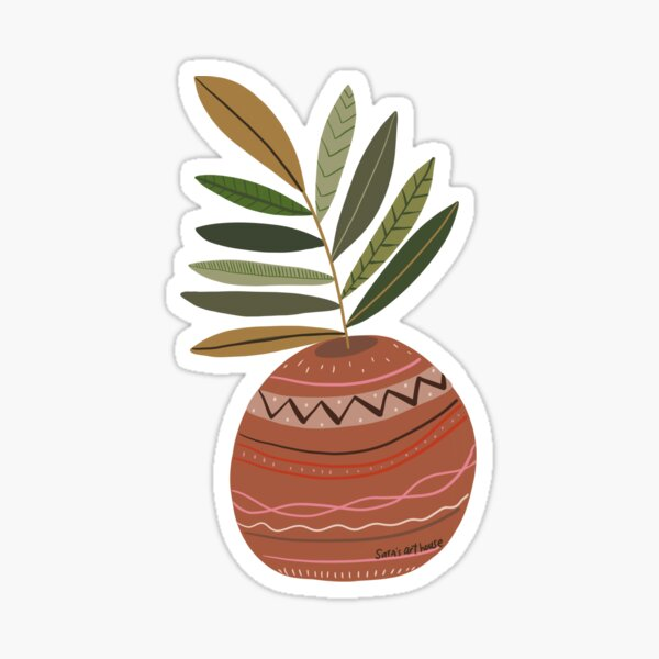 Pink and striped funky pot with greenery  Sticker