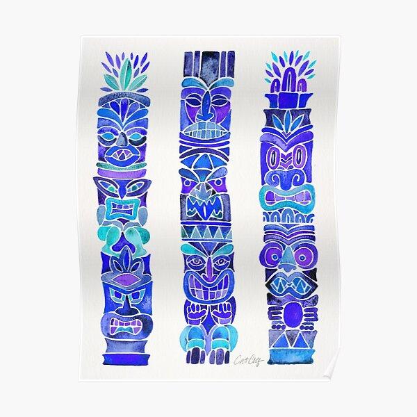 Tiki Totems – Indigo Palette Poster