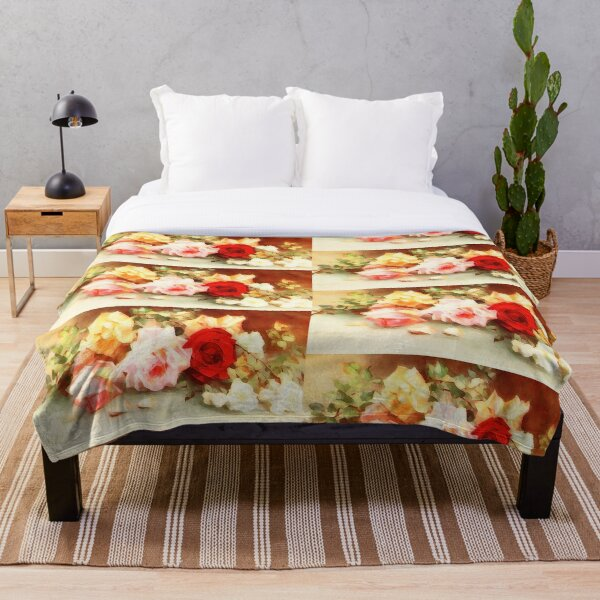 still life with roses Throw Blanket