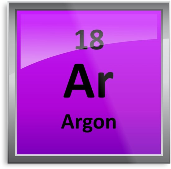 Argon Element Symbol Periodic Table Metal Prints By Sciencenotes