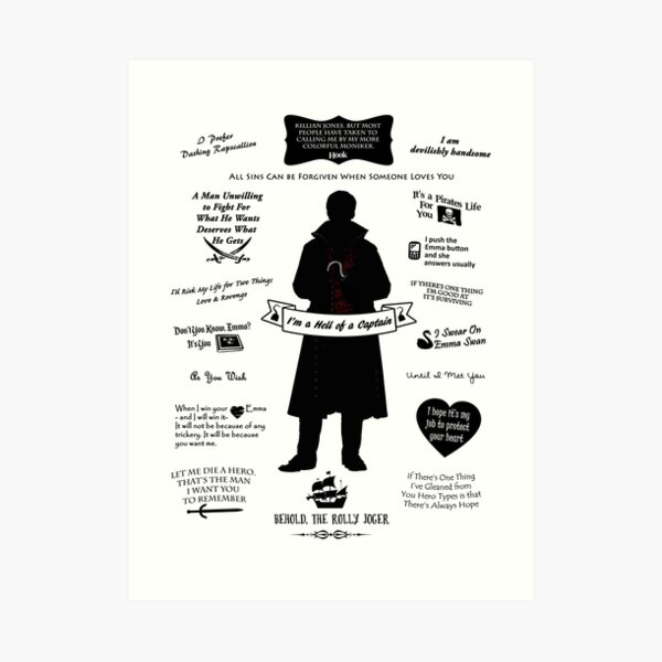 "Captain Hook ""Iconic Quotes"" Silhouette Design Art Print"