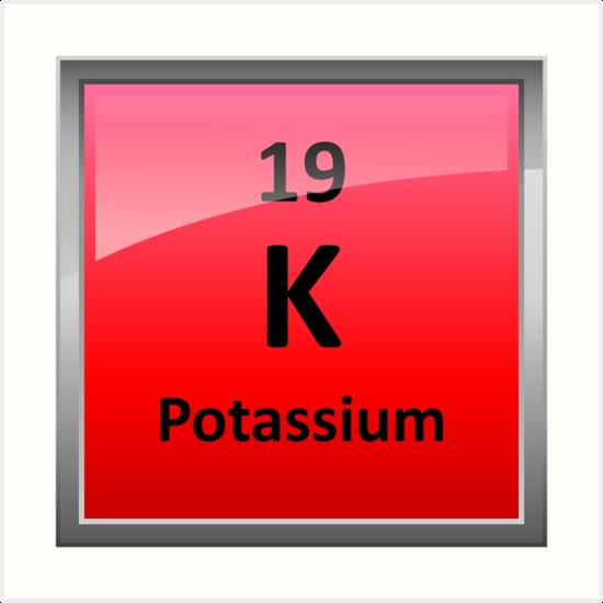 Potassium k periodic table element symbol art prints by potassium k periodic table element symbol by sciencenotes urtaz Gallery