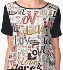 Vintage Love Typography  Chiffon Top