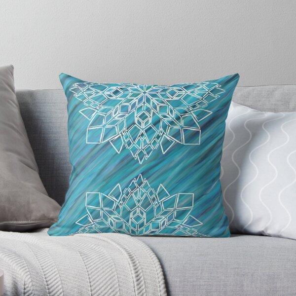Double geometric mandala Throw Pillow