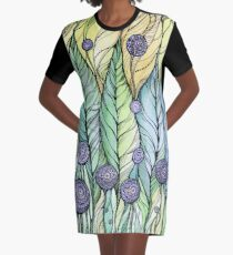 Dandelions.Hand draw  ink and pen, Watercolor, on textured paper Graphic T-Shirt Dress