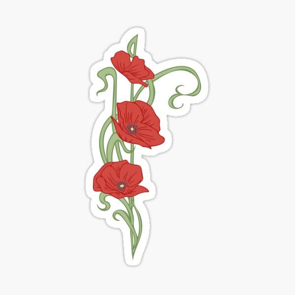 Art du pavot de style Art nouveau Sticker