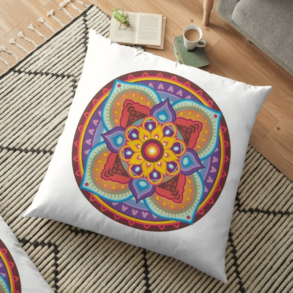 Mandala 4 castles Floor Pillow