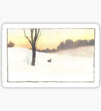 Vintage Snow Scene Sticker
