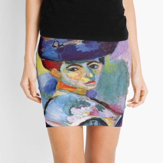 Portrait of Woman with a Hat by Henri Matisse Mini Skirt
