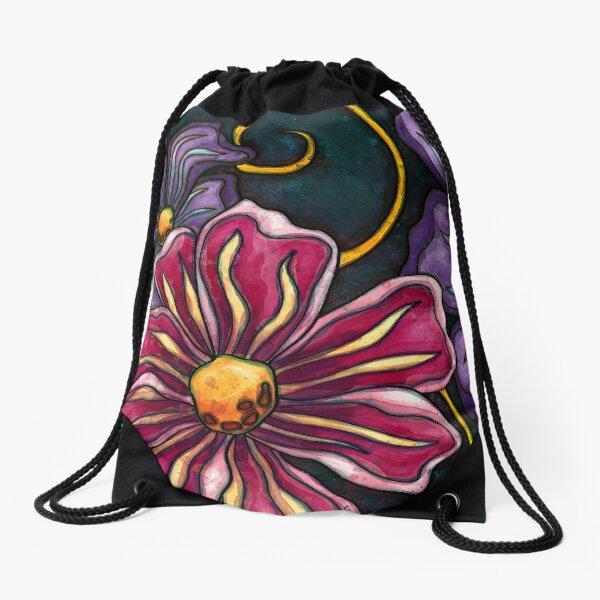 Big purple flowers Drawstring Bag