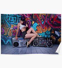 Retro Boombox Girl Poster
