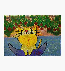 Cat dreaming on a boat eating strawberries Photographic Print