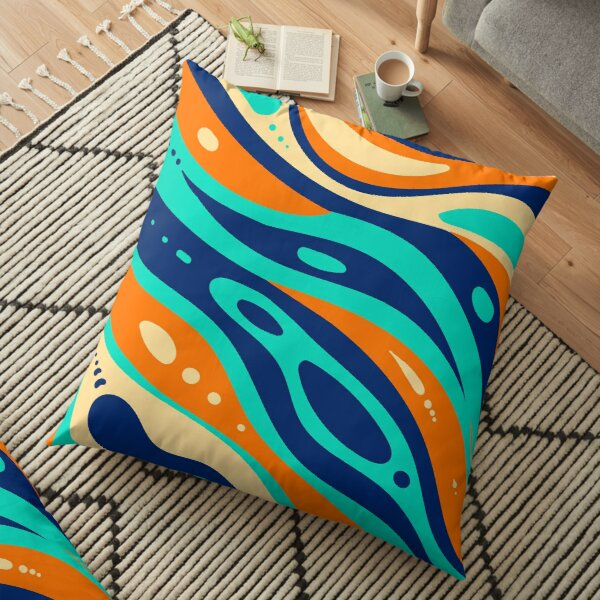 Flat-hand drawn wavy colored groovy background Floor Pillow