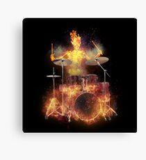 Flaming Skeleton Drummer Set 1 Canvas Print
