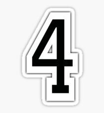4, TEAM SPORTS, NUMBER 4, FOUR, FOURTH, Competition, White on Grey Sticker