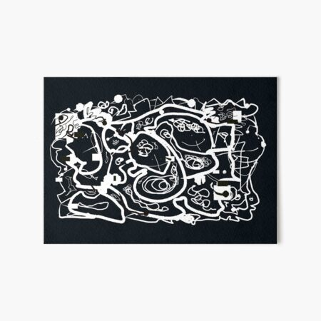 Black and White Doodle Art Board Print