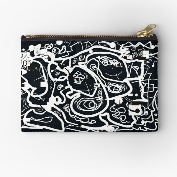 Black and White Doodle Zipper Pouch