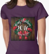 Merry Christmas and Happy New Year 2016 wreath on wood  Womens Fitted T-Shirt