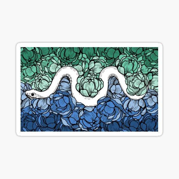 Floral Snake Gay Pride Colors Sticker