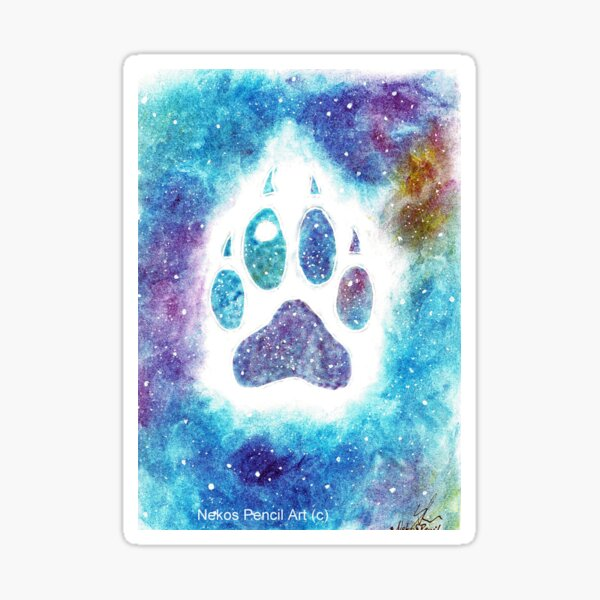 Galaxy wolf- paw Sticker
