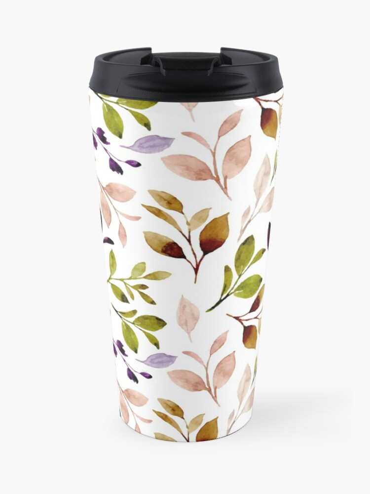 Leaf painting in watercolor on Travel Mug