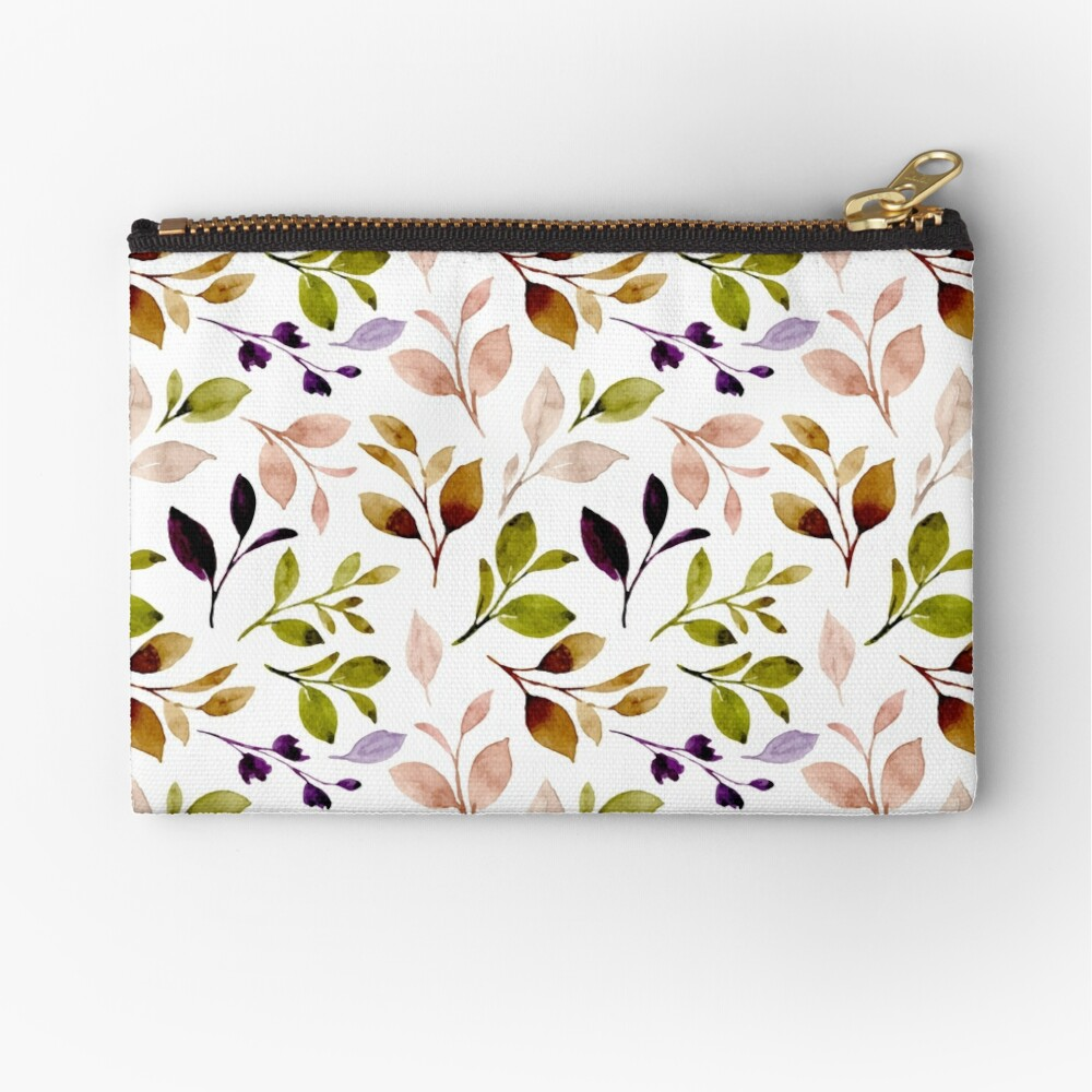 Leaf painting in watercolor Zipper Pouch