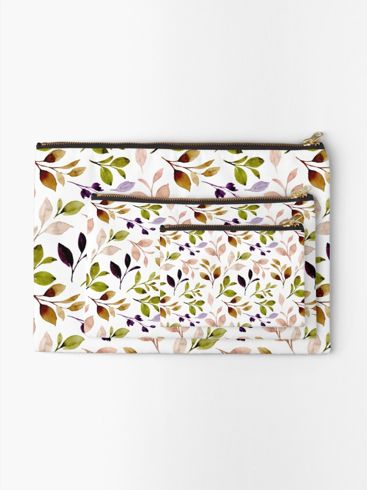 Alternate view of Leaf painting in watercolor Zipper Pouch