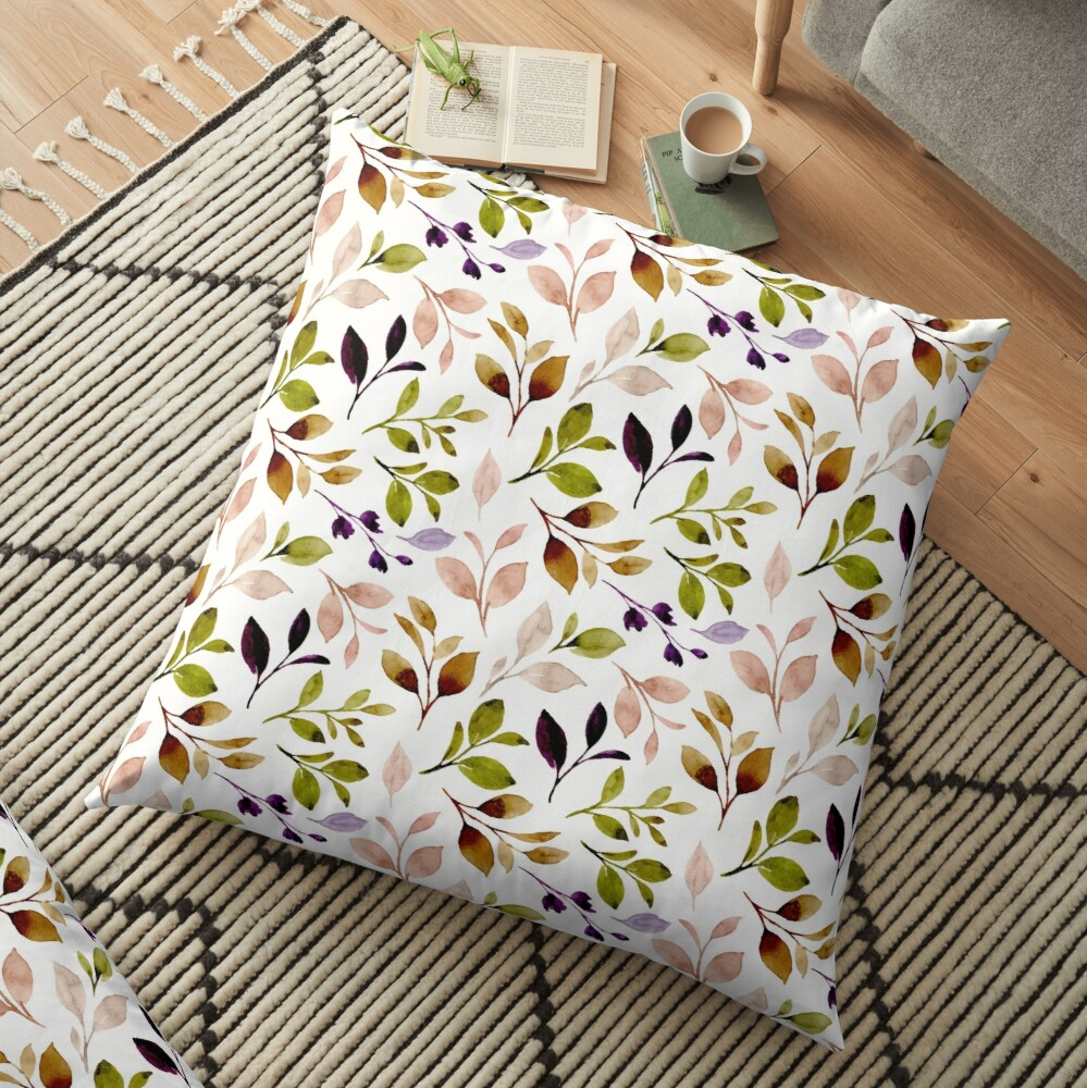 Leaf painting in watercolor Floor Pillow