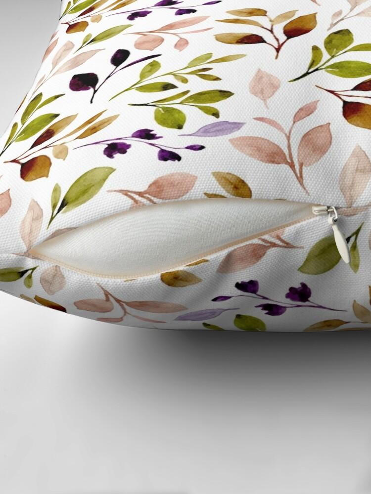 Alternate view of Leaf painting in watercolor Floor Pillow