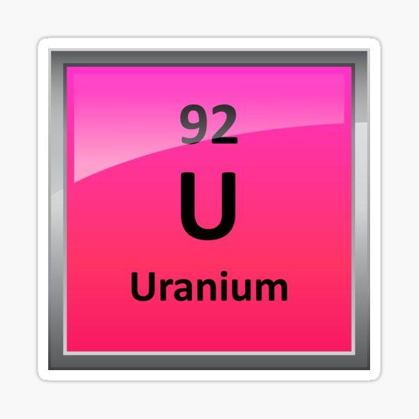 Uranium Element Symbol - Periodic Table Sticker