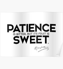 patience is bitter, but its fruit is sweet - jean-jacques rousseau Poster
