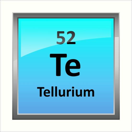 Tellurium Element Symbol Periodic Table Art Prints By