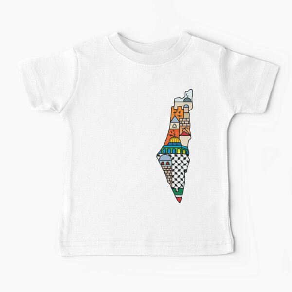 I Love Palestine My Homeland Palestinian Map with Kufiya Hatta Pattern and Most Sacred Cites -wht Baby T-Shirt