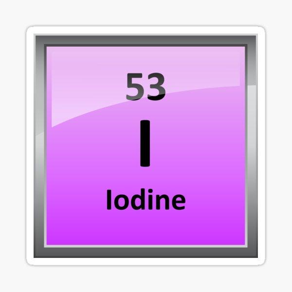 Iodine Element Symbol - Periodic Table Sticker