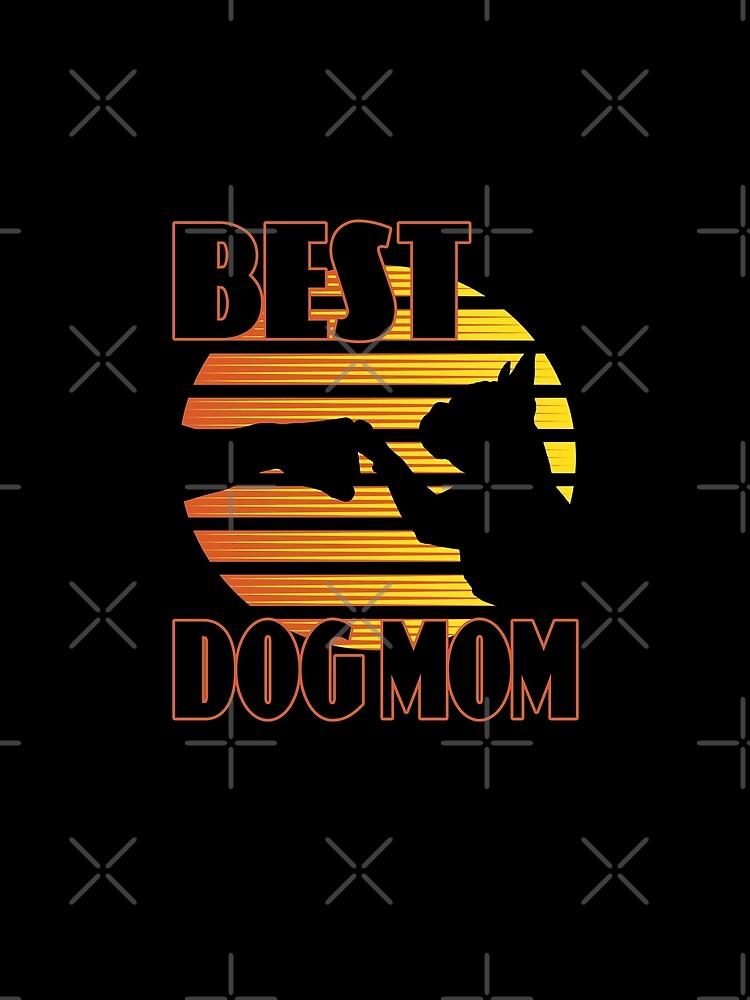 Tolles Hunde-Design: Best Dog Mom Fist Bump, Hund und Frauchen im Retro-Sonnenuntergang // Gelb Orange von brainbubbles