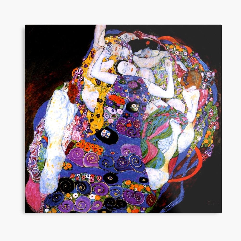 Die Jungfrau von Gustav Klimt Fine Art Metallbild