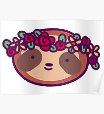 Flower Crown Sloth Face Poster